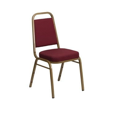 TBD 1008 Club Series Trapezoidal Back Stacking Banquet Chair with Burgundy Patterned Fabric and 2.5'' Thick Seat - Gold Frame