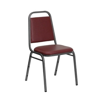 TBD 1002 Club Series Trapezoidal Back Stacking Banquet Chair with Burgundy Vinyl and 1.5'' Thick Seat - Silver Vein Frame