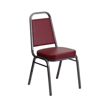TBD 1007 Club Series Trapezoidal Back Stacking Banquet Chair with Burgundy Vinyl and 2.5'' Thick Seat - Silver Vein Frame