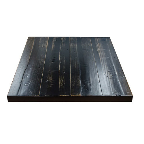 Heavy Distress Worn Out Black Pine Restaurant Table Tops