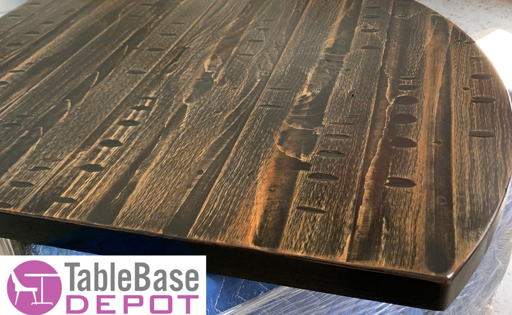 Heavy Distressed Onyx Natural Eastern Georgia Pine Restaurant Table Tops