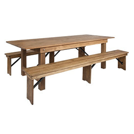 Heirloom Countrified Finish Country Farm Table With Benches Commercial Grade