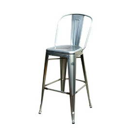 High Back Galvanized Silver Finish Tolix Bar Stool