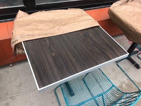 Dark Espresso Patio Table With Aluminum Edge