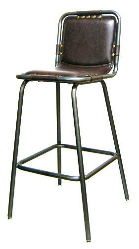 Industrial Steel Bar Stool Upholstered Brown Vinyl