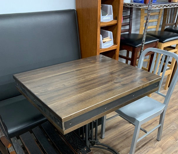 Industrialized Rustic Pine Steel Edge Table Top
