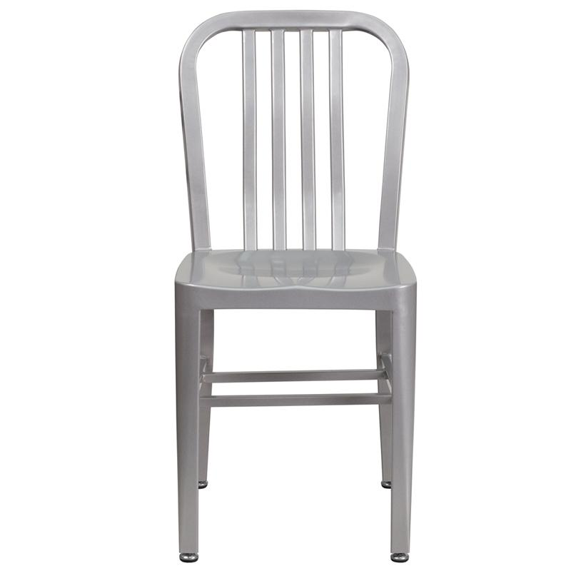 KAli Industrial Silver Galvanized Side Chair