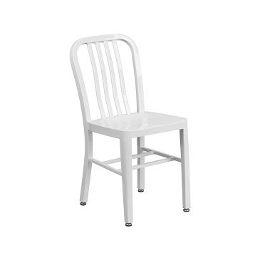 KAli Industrial White Galvanized Side Chair