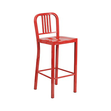 KÄli Red Industrial Low Back Bar Stool