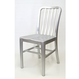 Kali Brushed Aluminum Side Chair Saddle Seat In-Outdoor