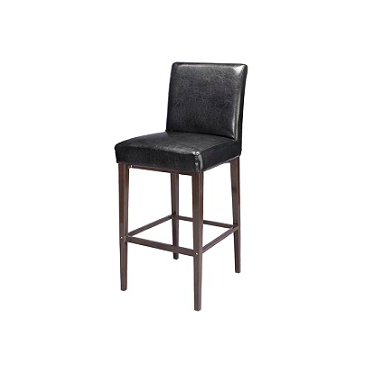 Kells Upholstered Bar Stool Metal Wood Grain Finish Black Vinyl Seat