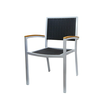 Klarissa Aluminum Charcoal Wicker In-Outdoor Patio Chair
