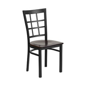 Leola Black Lattice High Back Side Chair Walnut Wood Seat