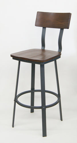 Eastmont Industrial Metal Walnut Wood Seat Back Side Chair
