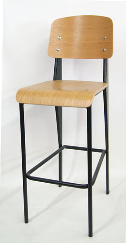 Elementary Industrial Natural Wood Seat Back Black Side Chair