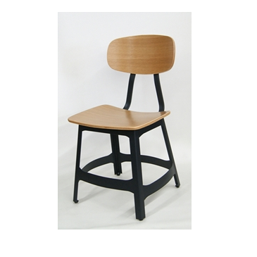 Belmont Industrial Black Metal Natural Wood Seat Back Side Chair