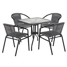 Milan 5 Piece Dark Gray Glass Patio Table Chair Set