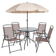 Nancia 6 Piece Brown Patio Garden Set with Table Umbrella and 4 Folding Chairs