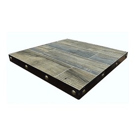 Gray Weathered Barn Wood Table Top Black Steel Edge In-Outdoor