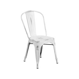 White Weathered Finish Tolix Chair