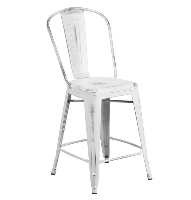 New White Weathered High Back Tolix Counter Stool