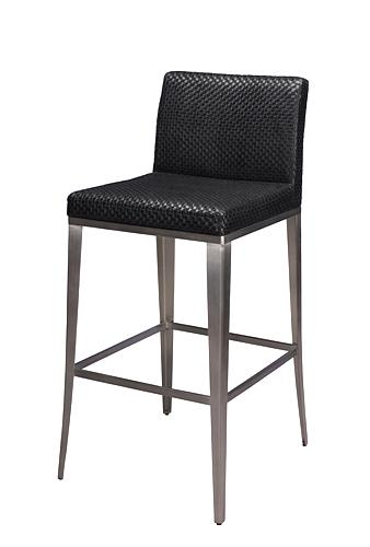 Nicci Stainless Steel Chair Upholstered In Black Textured Vinyl