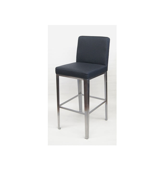 Nicci Stainless Steel Bar Stool Upholstered In Black Textured Vinyl