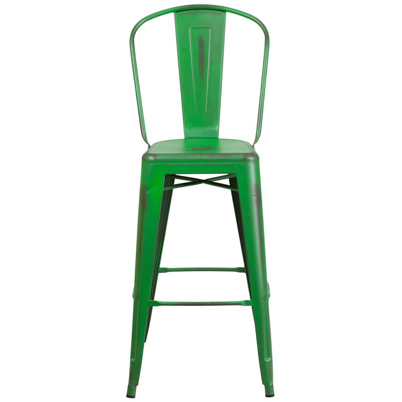 Office Green Weathered High Back Tolix Bar Stool Large Seat