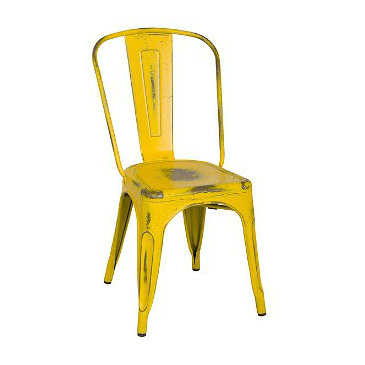 Old Country Yellow With Blue Paint Speckles Tolix Chair
