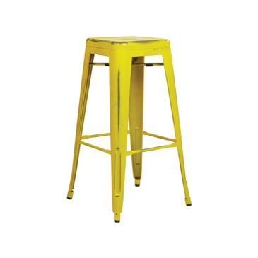 Old Country Yellow With Blue Paint Speckles Tolix Bar Stool