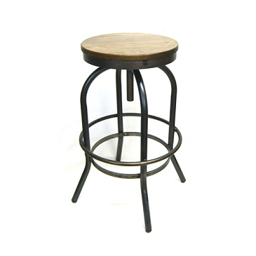 Old West Solid Steel Adjustable Ash Wood Seat Bar Stool