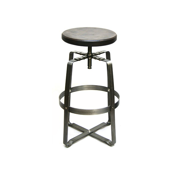 Old World Adjustable Industrial Steel Bar Stool