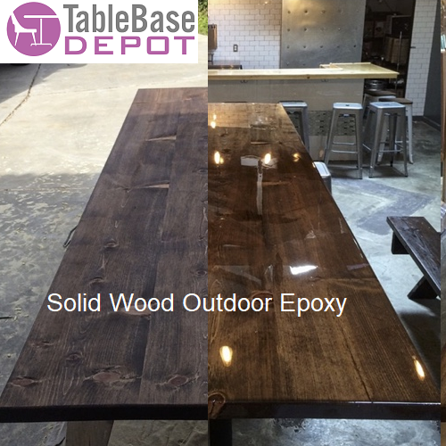 Outdoor Epoxy Medium Walnut Finish Restaurant Table Solid Eastern Pine