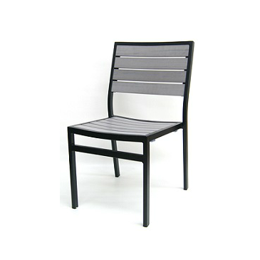 Oyster Gray Outdoor Side Chair Aluminum Black Frame