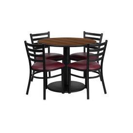 Walnut Laminate Table 36 Burgundy Seat Black Chair 6 Piece Set