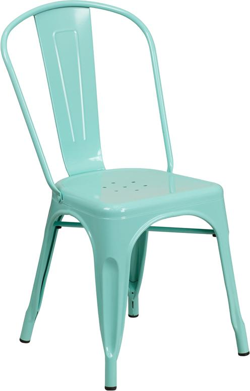 Tiffany Mint Finish Galvanized In-Outdoor Tolix Chair