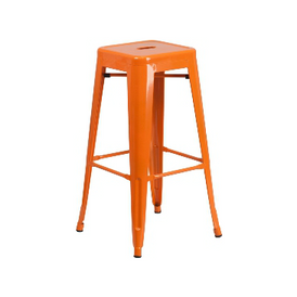 Princeton Orange Finish Tolix Bar Stool
