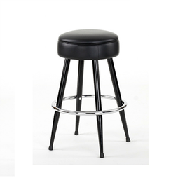 Publican Bar Stool Black Metal Frame Upholstered Black Seat