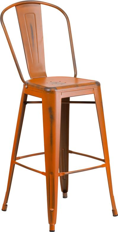 Pure Orange Antique Weathered Tolix Bar Stool Large Seat