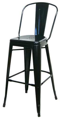 Raven Black Metal High Back Tolix Bar Stool