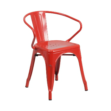 Red Baron Finish Tolix Arm Chair