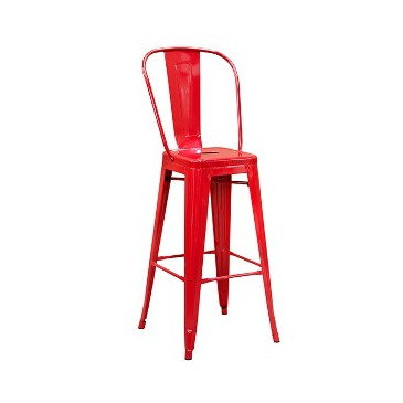 Red Baron High Back Tolix Bar Stool