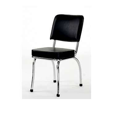 Retro American Diner Chair Upholstered Seat Back In Black Vinyl