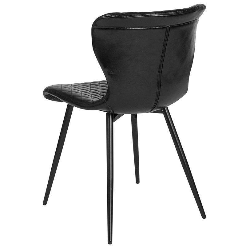 Riverway Black Vinyl Upholstered Chair Black Metal Legs