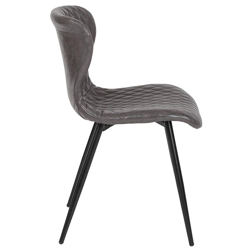 Riverway Gray Vinyl Upholstered Chair Black Metal Legs