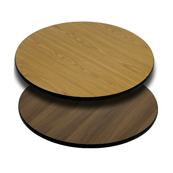 Round Double Sided Natural Walnut Laminate Table Tops