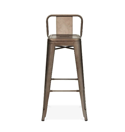 Rusted Finish Low Back Tolix Bar Stool
