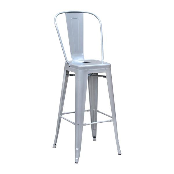 Sonic Silver High Back Tolix Bar Stool