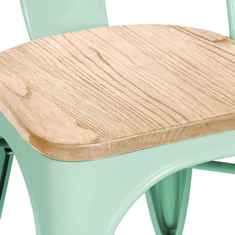 Spearmint Finish Wood Seat Tolix Chair
