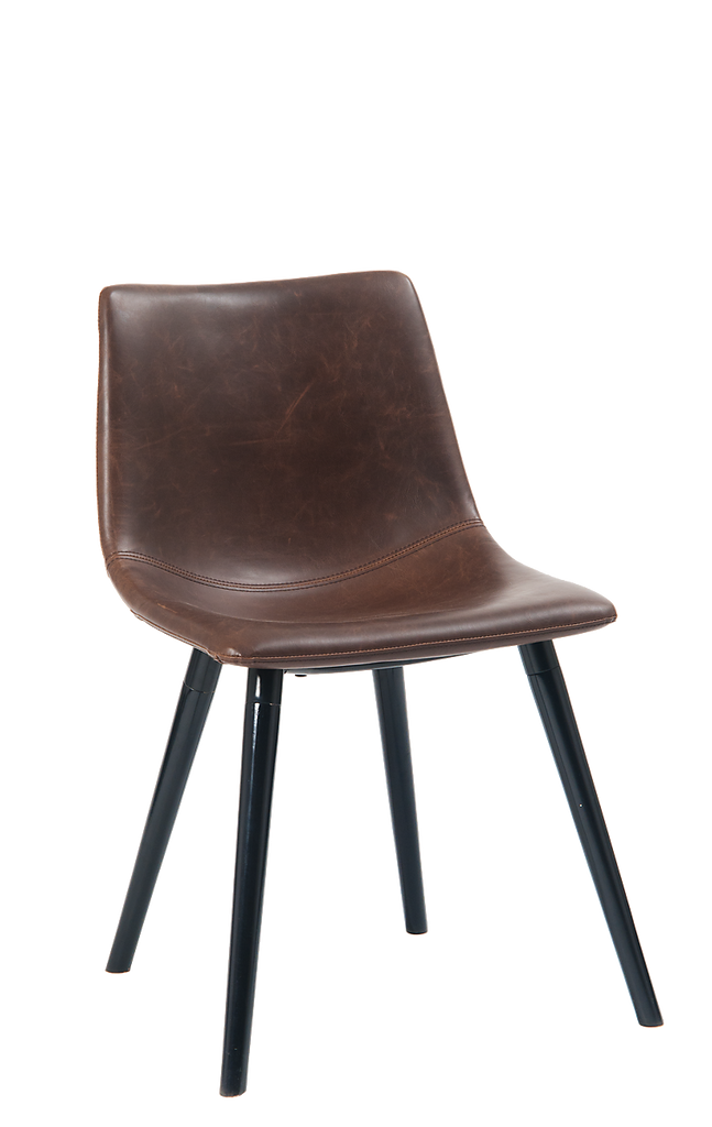 Leopoldo Upholstered Brown Leatherette Side Chair